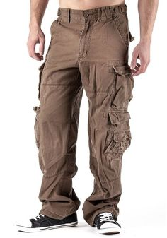 Tootless-Men Solid Middle Waist Cozy Big Pockets Chino Cargo Pants