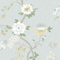 Camellia - Camellia Japonica - another classic design from Cole & Son's archive - a pretty floral trail on a crackled glaze effect background. Shown in the Lemon / Sage on Print Room Blue. Scenic Wallpaper, Of Wallpaper, Designer Wallpaper, Pattern Wallpaper, Bathroom Wallpaper, Wallpaper Ideas, Fabric Wallpaper, Cole Son, Cole And Son Wallpaper