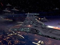 Venator class ship over Coruscant