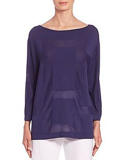 Piazza Sempione Sheer-Panel Blouse - Blue - Size