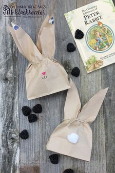 Super cute DIY Bunny Treat Bags filled with Blackberries to accompany The Tale of Peter Rabbit by Beatrix Potter.