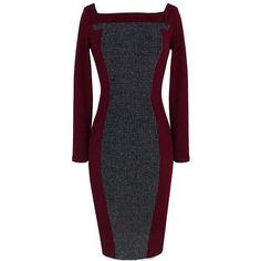 Elegant Women Stripe Patchwork Square Neck Sheath Work Pencil Dress ($15) ❤ liked on Polyvore featuring dresses, print sheath dress, print dress, sheath dress, striped dress and mixed print dress