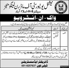 Walk In Interview - National University of Modern Languages Islamabad