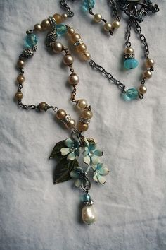 Necklace, vintage, pearls, blue, beads and rhinestones