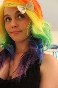 My Rainbow hair :D 3 3 3 3 3 3 Filles Punk Rock, Dark Blue Hair, Haircut And Color, Rainbow Hair, Candy Colors, Neon Green, Hair Cuts, Long Hair Styles, My Style