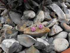 Pink Crystal Stud Earrings by SiobhanKeoghDesigns on Etsy, Beaded Jewelry, Beaded Bracelets, Jewellery, Unique Jewelry, Necklaces, Handmade Home Decor, Handmade Gifts, Stud Earrings, Crystals