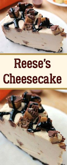 Reese's Peanut Butter No-Bake Cheesecake (reeses cheesecake cupcakes) Reese's Peanut Butter Cheesecake, Peanut Butter No Bake, Baked Cheesecake Recipe, Peanut Butter Desserts, Reeses Peanut Butter, Cheesecake Desserts, Cheesecake Bites, Homemade Cheesecake, Chocolate Desserts