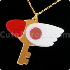 Card Captor Sakura Fan Art Key of Clow Mirror Acrylic Magical Girl Necklace by CuteParade, $20.00