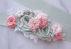 Seafoam Green and Coral Pink Sash, Pale Mint Bridal Sash, Coral Pink Wedding Belt with Rhinestones, Pearls, Spring Green - SPRING MEADOW