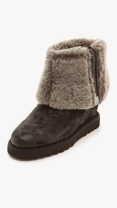 Yorkie wedge bootie with fold over shearling shaft by Ash