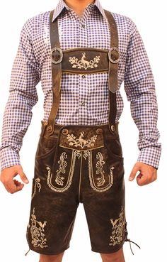 100% Authentic Premium leather 100% polyester lining on the inside 2 front pockets 1 knife pocket on the side 1 rear pocket (button-up) Buckhorn style authentic deer horn buttons Handmade Embossed Embroidery with 2 layered Linings Adjustable Suspenders ADD FREE Bavarian Shirt Product Ref # LED-27