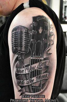 Guitar and Micophone Tattoo | InkFreakz.com
