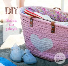 DIY bolsa de playa de mimbre. Heart bag