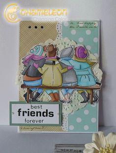 Art Impressions Rubber Stamps: Ai Girlfriends: Bench Set (Sku#4546) ... handmade friendship card.