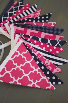 Navy & Bright Fuchsia Pink Fabric Bunting Pennant Banner Girl's Room, Nursery, Baby Shower, First Birthday Party Decoration, Bridal Shower, Graduation or Photo Prop, Pottery Barn Hamptons Whale or Breton bedding by MsRogersNeighborhood Etsy Shop