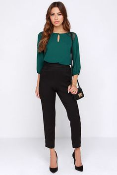 df7db62b6a00f7 Cute Forest Green Top - Lace Top - Short Sleeve Top -  36.00 Green Blouse  Outfit