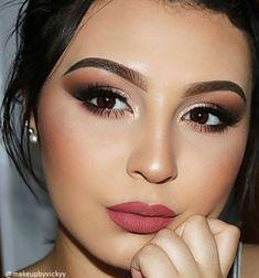 The shade Valentina is a deep warm rose. Glam Makeup Look, Bridal Makeup Looks, Bride Makeup, Gorgeous Makeup, Hair Makeup, Bridal Makeup For Green Eyes, Indian Makeup Looks, Bold Lip Makeup, Bronze Makeup Look