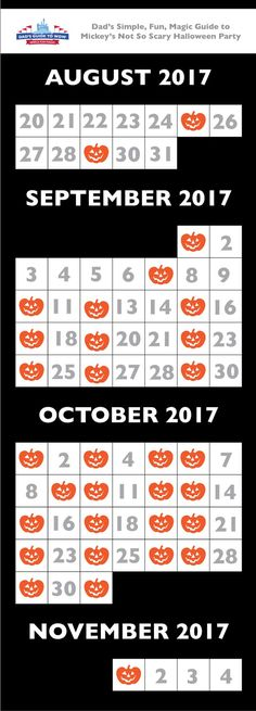 Mickey's Not So Scary Halloween Party Calendar 2017