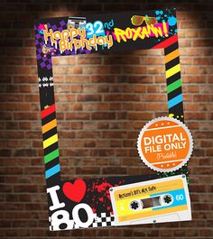 Having an 80s Themed Party? The 80s Theme Photo Booth will be a hit at your party! Just buy this high-quality digital file, have it printed to your nearest print shop and get it mounted! Want us to print, mount and ship the photo booth to you? Go here -