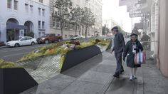 The 9 Coolest Parklets In S.F. For Outdoor R&R   http://www.refinery29.com/best-parklets-san-francisco#slide3  Farm:Table Parklet  Still in the works, the plans for this parklet include a mix of seating and an urban landscape filled with lush, edible plants, and two bike racks. The angular space, which is possible thanks to $15,327 worth of Kickstarter donations, will open in Spring 2012, bringing a welcome dose of green to the Tenderloin. Farm:Table Parklet, 754 Post Street ...