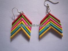 Handmade Jewelry - Rolled Bar Paper Earrings (Angular) (1)