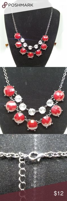 Necklace Statement Jet Red Crystal Rhinestones New with/out tag... Decree. Jet red and clear crystal rhinestones highlight this fashion statement necklace. Brass-tone rolo chain. 16-inch length with a 3-inch extender. Lobster claw clasp closure. This product not intended for use by or accessible to children 12 years of age or younger. Decree Jewelry Necklaces