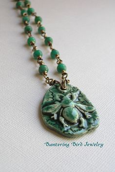 Spirited Earth Ceramic Bee Pendant on Long Emerald Green Beaded Rosary Necklace Natural Stone Amazonite Spring Summer Jewelry $43.00