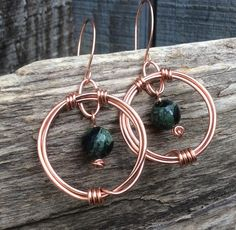 Natural Jasper and Wire Wrapped Copper Earrings, Copper & Dark Green Jasper Drop Earrings, Natural Gemstone Earrings, Copper Wire Earrings by BearBranches on Etsy
