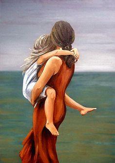ღღ  Mother and daughter Painting - Mother and daughter Fine Art Print - Natalia Tejera