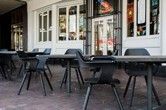 Gin Long Canteen – North Adelaide   Concept Collections    Muse Chair by Konfurb Contemporary Chairs, Modern Dining Chairs, Outdoor Chairs, Adelaide South Australia, Gin Bar, Lobby Lounge, Beer Garden, Canteen, Bar Stools