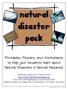 """This 22 page pack is an awesome resource to use during your Natural Disasters/Natural Hazards Unit!  It includes 8 full page """"posters"""" of the following disasters: tornado, hurricane, flood, drought, blizzard, earthquake, wildfire, and volcano.  This pack includes a """"master"""" 4 square organizer for students to complete on each disaster."""
