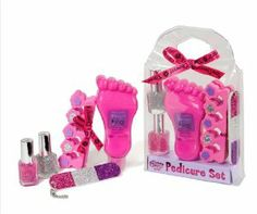 SPA Pedicure Set by Three Cheers For Girls!. $16.99. Fun sleep over activity!. Nicely packaged gift set.. ncludes Berry Blitz foot lotion to beautify your feet. Includes Toe separators, Glitter emery board, and 2 Glitter polishes to make your toes sparkle. Great tween gift!. 32286 Features: -Berry Blitz foot lotion.-Toe separators.-Glitter emery board.-2 bottles of glitter nail polish.