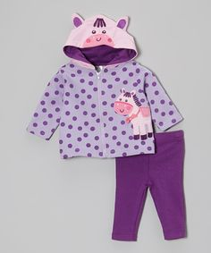 Another great find on #zulily! Baby Essentials Purple Polka Dot Horse Hooded Jacket & Leggings - Infant by Baby Essentials #zulilyfinds