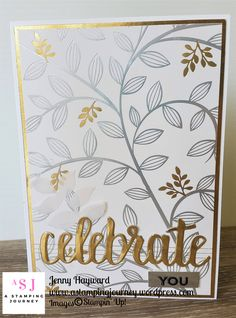 A simple gorgeous card with the Springtime Foils Specialty paper and Celebrate You Thinlits. Not much more is needed. #saleabration2018 #astampingjourney