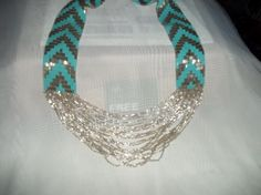 VERY UNIQUE HANDMADE SILVER AND TURQUOISE SCARF NECKLACE OVER 2200+BUGLES AND SEED BEADS AMAZING!!!!