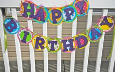 Colorful Happy Birthday Banner by PaperPartyCrafts on Etsy, $30.00