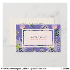 Shop Modern Floral Elegant Cornflower Blue Business Card created by BellaGabriella. Elegant Business Cards, Business Card Size, Professional Business Cards, Business Card Design, Day Up, Flower Patterns, Things To Come, Floral, Modern
