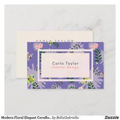 Shop Modern Floral Elegant Cornflower Blue Business Card created by BellaGabriella. Elegant Business Cards, Business Card Size, Professional Business Cards, Business Card Design, Day Up, Modern Interior Design, Flower Patterns, Things To Come, Floral
