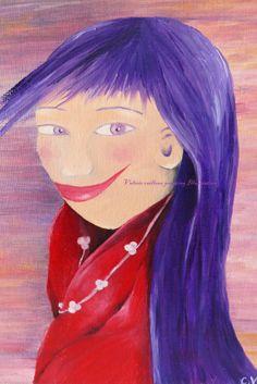 Dipinto pittura a olio.     La Ragazza dagli Occhi di RossoViola, €45.00
