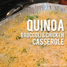 This is one of my favorite recipes! It's so yummy and I think its even better on the second day, if you have leftovers ;) Quinoa, Broccoli & Chicken Casserole Ingredients Needed: -2 bags of fre...