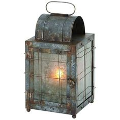 Industrial Gunmetal Finish Candle Lantern ($70) ❤ liked on Polyvore featuring home, home decor, candles & candleholders, grey, colored lanterns, industrial home decor, gray home decor, grey home decor and gray candles