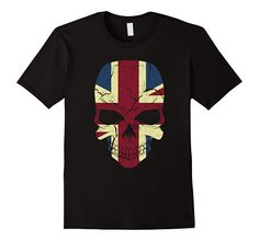 Amazon.com: Vintage Design Skull England British Flag T-shirt $16.99
