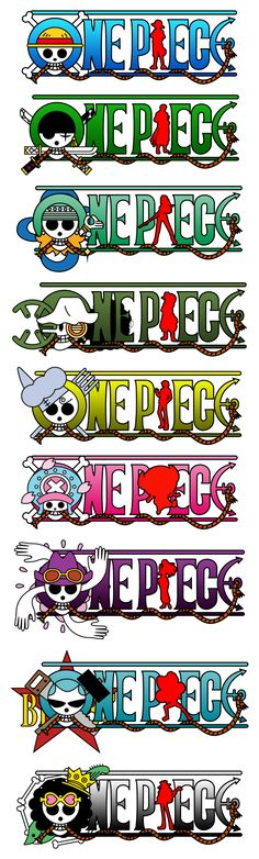 One Piece Logos Straw hats pirate crew Monkey D. Luffy, Tony Tony Chopper, Roronoa Zoro, Sanji, Brook, Usopp, Nami, Franky, Nico Robin