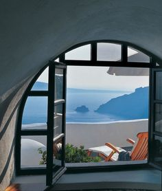 This gorgeous hotel on Santorini, Greece overlooks the Aegean Sea. One of my favorite places in Europe!