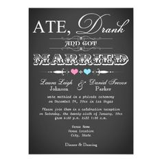 Modern chalkboard style post-wedding reception invitation by Wasootch.