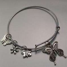 Butterflies Bangle Bracelet Expandable Silver Tone by LouluJewels