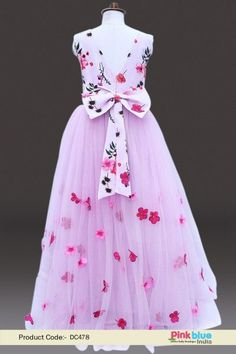 b4a750bd52 Kids Birthday Party Gown Dress - Designer Lavender Flower Girl Dress -  Designer Princess Party Wear