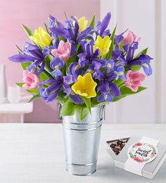 Celebrate Mother's Day 2020 by ordering Mother's Day flowers! Whether mom is near or far, send a Mother's Day flower delivery such as roses, tulips & more. Easter Flower Arrangements, Easter Flowers, Beautiful Flower Arrangements, Spring Flowers, Floral Arrangements, Mothers Day Flower Delivery, Mothers Day Flowers, Iris Bouquet