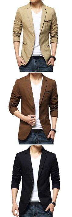 US$33.92 (47% OFF) Plus Size Business Casual Slim Fit Solid Color Fashion Blazers for Men