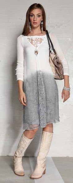 Eco dip dye a woollen or silk dress/top. Love those boots. Maybe not white so fully immerse it through a first dye batch then add iron bolts to make the second dye deeper for a dip dye